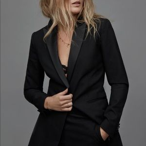 Reiss Black Slim Blazer Jacket Satin Collar Sz 6